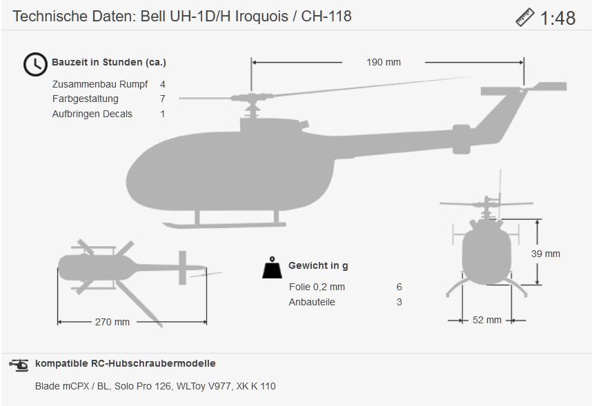 Maße UH-1D 1:48