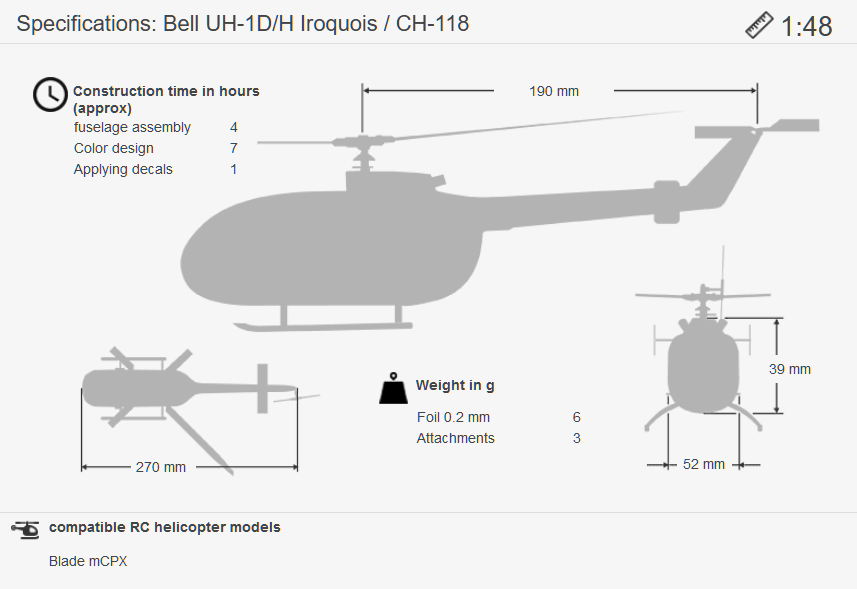 Masse UH-1D 1:48 engl