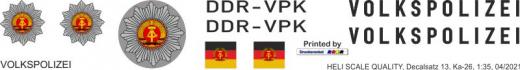 Ka-26 - Volkspolizei - DDR-VPK - Decal 13 - 1:35