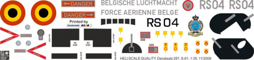 S-61 - Force Arienne Belge - RS04 - Decal 281  - 1:35