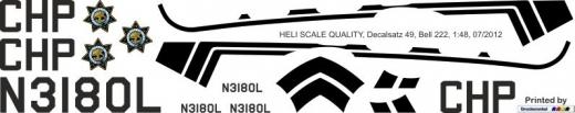Bell 222 - California Highway Patrol - N3180L - Decal 49 - 1:24