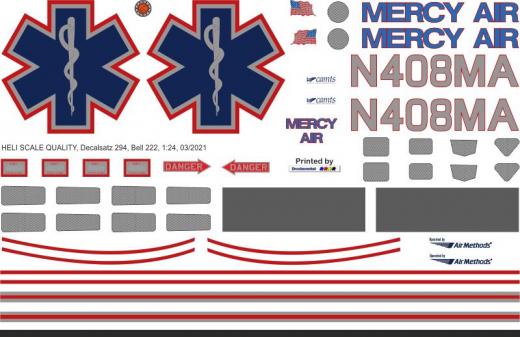 Bell 222 - Mercy Air - N408MA - Decal 294 - 1:48