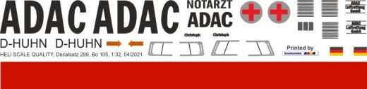Bo 105CB - ADAC - D-HUHN - Decal 299 - 1:32