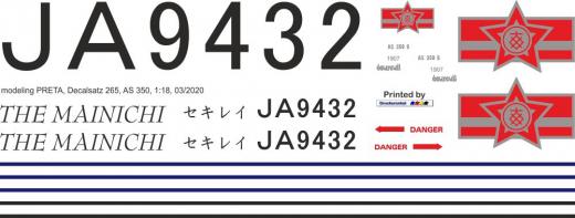 AS 350 - Mainichi Shimbun - JA9432 - Decal 265 - 1:18