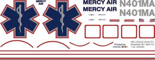 Bell 412 - Mercy Air - N401MA - Decal 261 - 1:35