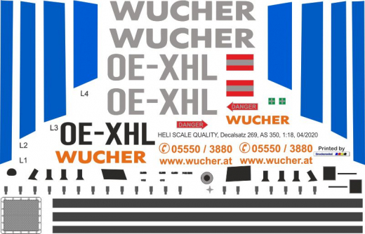 AS 350 - Wucher Helicopter - OE-XHL - Decal 269 - 1:18