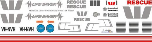 Bo 105CBS - Westpac Life Saver Rescue - VH-NVH - Decal 252 - 1:24