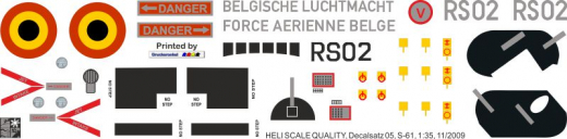 S-61 - Force Arienne Belge - RS02 - Decal 05  - 1:35