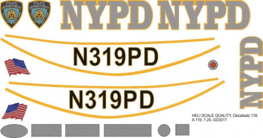 A 119 - NYPD - N319PD - Decal 118 - 1:24