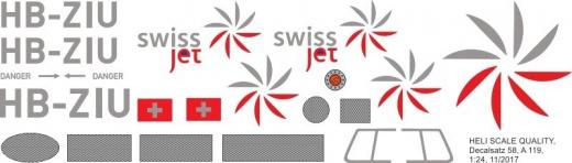 A 119 - SwissJet - HB-ZIU - Decal 58 - 1:24