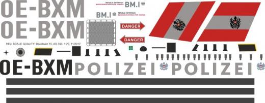 AS 350 - Polizei Österreich - OE-BXM - Decal 15 - 1:18