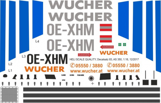 AS 350 - Wucher Helicopter - OE-XHM - Decal 83 - 1:18