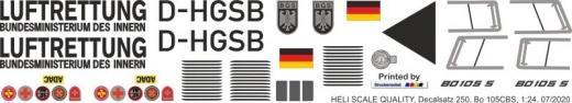 Bo 105CBS - Luftrettung BMI - D-HGSB - Decal 250 - 1:24