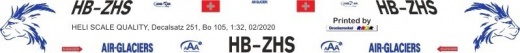 Bo 105S - Air-Glaciers / Alpine Air Ambulance - HB-ZHS - Decal 251 - 1:32
