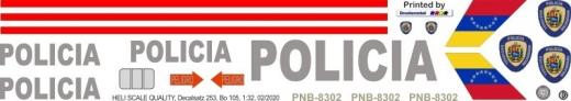 Bo 105CBS - Polizei Venezuela - PNB-8302 - Decal 253 - 1:24