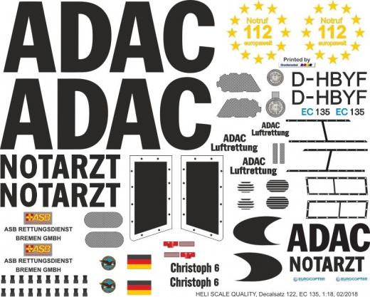 EC 135 - ADAC - D-HBYF - Decal 122 - 1:18
