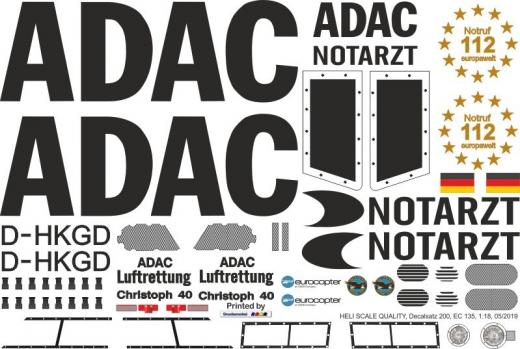 EC 135 - ADAC - D-HKGD - Decal 200 - 1:18