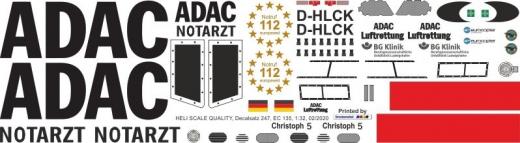 EC 135 - ADAC - D-HLCK - Decal 247 - 1:18