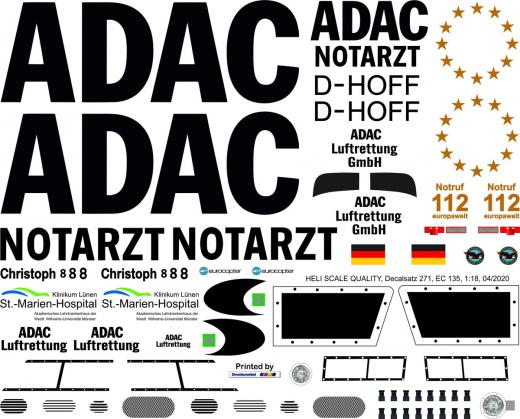 EC 135 - ADAC - D-HOFF Christoph 8 - Decal 271 -1:18