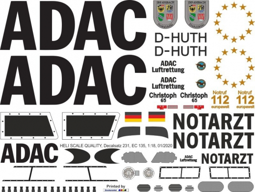 EC 135 - ADAC - D-HUTH Christoph 65 - Decal 231 - 1:18