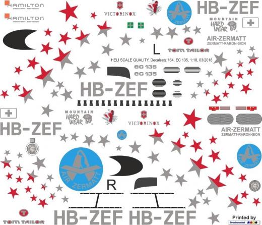 EC 135 - Air-Zermatt - HB-ZEF - Decal 164 - 1:32