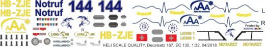 EC 135 - Alpine Air Ambulance - HB-ZJE - Decal 167 - 1:18