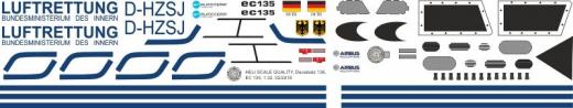 EC 135 - Luftrettung BMI - D-HZSJ - Decal 162 - 1:18
