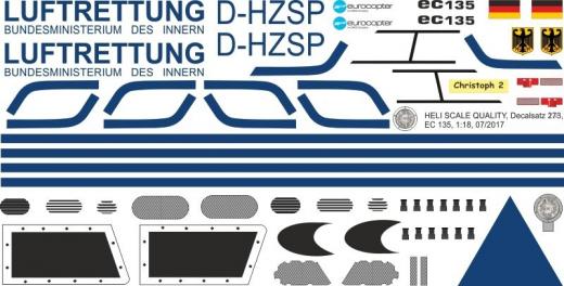 EC 135 - Luftrettung BMI - D-HZSP - Decal 273 - 1:18