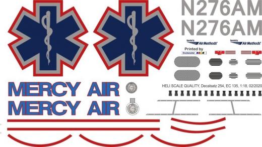 EC 135 - Mercy Air - N276AM - Decal 254 - 1:32