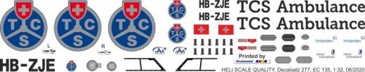 EC 135 - Touring Club Schweiz - HB-ZJE - Decal 277 - 1:18