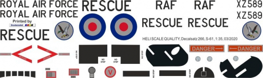 S-61 - Royal Air Force - XZ589 - Decal 266