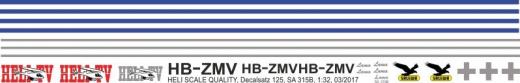 SA 315B - HELI-TV - HB-ZMV - Decal 125 - 1:32
