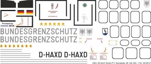 SA 330 - Bundesgrenzschutz - D-HAXD - Decal 38 - 1:32