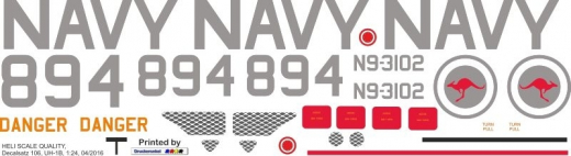 UH-1B - australische Navy - Decal 106 - 1:24