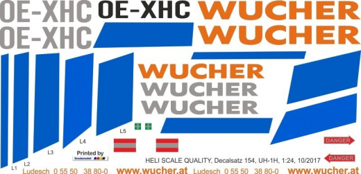 UH-1H - Wucher Helicopter - OE-XHC - Decal 154 - 1:32