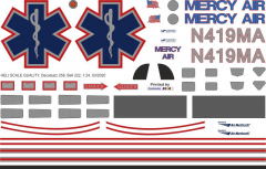 Bell 222 - Mercy Air - N419MA - Decal 258 - 1:24