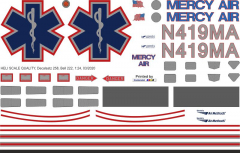 Bell 222 - Mercy Air - N419MA - Decal 258 - 1:48