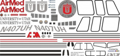 Bell 407 - University of Utah Air Med - N407UH - Decal 74 - 1:32